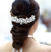 Hot new Korean ladies red white pearl handmade crystal bridal hair accessories wedding dress accessories  B22