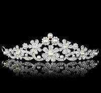 Lotus flower bridal pearl tiara wedding crown  B16