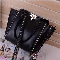 2014 New fashion women's leather bag rivets totes shoulder bag messenger bag handbag free shipping