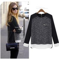 148X M-5XL Plus Size Eurpean Style Women's Clothes Spring Autumn 2014 New Fashion Wool Chiffon Patchwork blusas femininas