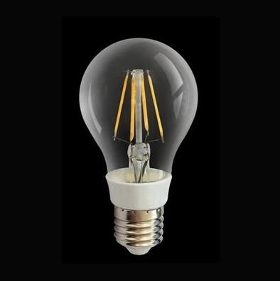 Ultra Bright LED Bulb 4W E27 220V Warm White light led lamp with 4 pcs LED filament 400LM 360 degree e27 led bulb Fee Shipping(China (Mainland))