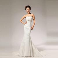 2014 New Style Beige Waistline strapless Fishtail Wedding Dresses For Women/Floor Length Court Train Lace Wedding Dress