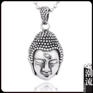 Free shipping 2014 New fashion Men Jewelry Wholesale Men's imitation silver Titanium steel Buddha Pendant T013(China (Mainland))