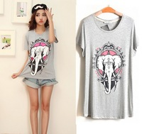 Women's  Simple and Fashion Leisure T-shirt, The Elephant Design Printing, 3 colours