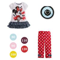 2014 summer new arrival Children's cotton clothing set 2pcs(t shirt+pant) MINNIE cartoon dot short-sleeve bowknot suit 5sets/lot