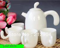 Free Shipping Japanese Style Plain Bone China Teapot  Cup Tea Set  Japanese Gift
