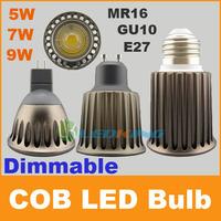 Dimmable COB led bulb New Arrival 5W 7W 9W spotlight downlight AC110V 220V 12V GU10 E27 MR16 Bulbs