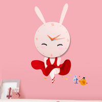 thermostability plastic + PVC sticker Children room decoration cute cartoon Bunny girl pattern wall clock Free Shipping