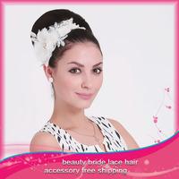1 PCS Flower Hairbands Women bride Hair Accessories Headwear Lace Flower wedding White Free Shipping