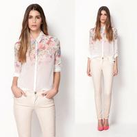 Hot Sale Lady Casual New Lapel Collar Button Flowers Tops Chiffon Long Sleeve Women Shirt 2014 New Arrival Women Chiffon Top