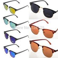 New 2014 Fashion Sun Glasses Summer Coating Sunglass Clubmaster Sunglasses Women Elegant Metal Star Vintage Retro Eye Wear