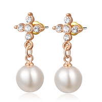 2014 New Rose Gold Crystal & Pearl Stud Earrings For Women Fashion Jewelry Wholesale Beauty Gift Mothers Earring