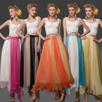 New 2014 Summer Spring Bohemian Fashion Mid-Calf Patchwork Pleated Skirt Maxi Skirt For Women Girl 5 Colors CY9593703