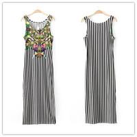 2014 New summer printed women sleeveless maxi dress sundress for girls stripe long dresses LJ09353