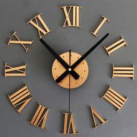 2014 Novelty fashion BIG Metallic DIY Wall Clock 3D Roman Numerals Stickers Home Decor Art Modern Clock