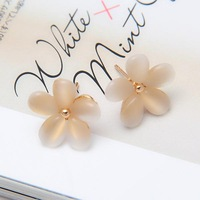 Women Korean Style Sakura Flower Earrings White Resin Opal Flower Ear Studs #5680