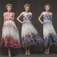 Popular Girl Dresses New Arrivals 2014 Tank Digital Leopard Rose Print Chiffon Holidays Beach Dress Brief Style 8030#