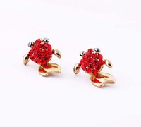 Fashion Jewelry Gold Plated Red Color Rhinestone Animal Shape Cute Fish Style Stud Earrings For Women free shipping