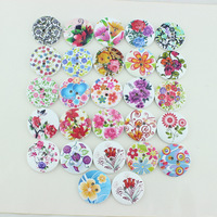 100pcs/lot Big Mixed Floral Painting Round Wooden Buttons 2-holes Button 30mm Cabochon for scrapbook,garment decoden MA0036