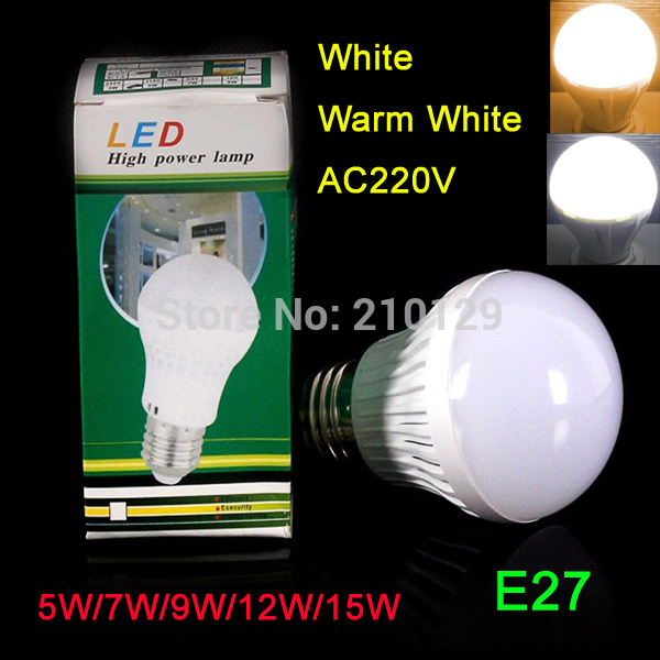 New Energy Saving high power led globe bulb e27 Globe LED Bulbs Light Lamp 5W/7W/9W/12W/15W Bright free shipping(China (Mainland))