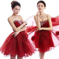 2014 evening dress/ red fashion slim evening dress /short design princess puff dress/customize dress