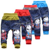 kids clothing 2014 spring autumn casual trousers boy pants 4 colors cartoon cotton pants 2-6 year kids pants