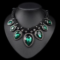 (Min Order.10USD) Hand made green crystal neckalce rope water drop chunky chocker necklace women fashion jewelry