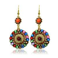 (Min order.10USD) wholesale 2014 round crystal earrings with rhinestones fish hoop vintage drop earrings