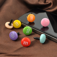 100pcs candy M beans phone dust plug fone de ouvido for iphone 4/4s earphone plug and 3.5mm cellphone dust cap FREE shipping