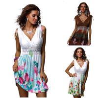 ML18029 Free Shipping Multi Colors Women Summer Dress Printed Design Dress Fashion Lady Summer Beach Dress