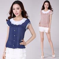 2014 Women Shirt Fashion Polka Dot Peter Pan Collar Chiffon Blouses Loose Short Sleeve Shirt Women Clothing Plus Size S XXXXL