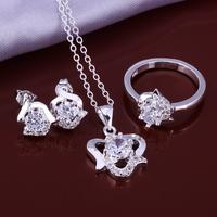 Wholsale new FASHION jewelry  925 Sterling Silver earrings ring necklace set Penoyjewelry LKNSPCS647