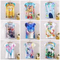 2014 New Fashion Vintage Summer Digital Print White Women Clothes Short Sleeve T shirt Print Tee T-Shirts ST02A11