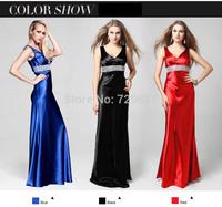 New Arrival Elegnat Long Night Dresses With Hand Made Sequins+Imported Fabrics Deep V Neck Black Blue Red Carpet Evening Dress