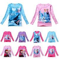 kids baby Frozen Princess T shirt long sleeve girl tees T shirt clothing 2014 Spring Autumn t shirt free shipping