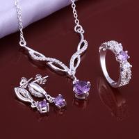 Wholsale new FASHION jewelry  925 Sterling Silver earrings ring necklace set Penoyjewelry LKNSPCS643