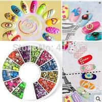 New 1 PCS nail art fluorescence slice,rivet nail art decorations miax square and Round ,free shipping