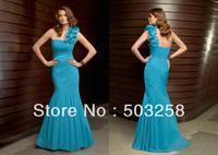 NM3 Fashion design one shoulder long chiffon bridal mother dresses gown straps