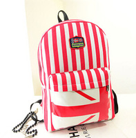 Free Shipping New Style Stripe Canvas Backpack Student backpack