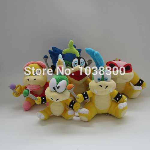 Anime plush toys 6pcs/set Super Mario Bros Iggy Wendy Larry Ludwig Ray Lemmy Soft Cute Plush Toy Doll 5sets by EMS(China (Mainland))