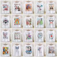 2014 New Hot Fashion Vintage Spring Summer Digital Printing Girl Women's Loose Short Batwing Sleeve T Shirt Printed Tee T-Shirts