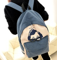 2014 cartoon glasses backpack canvas school bag male women's casual travel bag