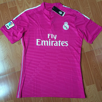 New arrival 14/15 real madrid away Pink ss best quality fans version soccer football jersey, real madrid soccer football jersey