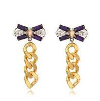 2014 New Fashion Korean Gems Bowknot Rough Chain Stud Earring Statement Tassel earring