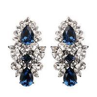 2014 New Fashion Luxury  European Style Big Crystal Blue Water Drop Shape Earring Statement Wedding Earring