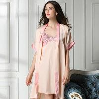 new 2104 lace sexy women pajama sets / quality embroidery women robe elegant women sleepwear nightgwon 2 pieces Free shipping