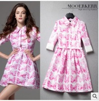 New 2014 brand runway dress women spring & summer butterfly print half sleeve dress high waist Pink dresses