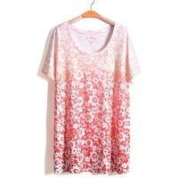 5Color 4XL-8XL Women Floral Print Blouse Graduate Color Tee Top Plus Big Large Size Oversize 5XL 6XL XXXXXL XXXXXXL 2014 Summer