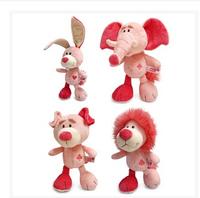 Genuine NICI Pink Series of Poker elephant lion pig rabbit plush toys birthday holiday baby gifts