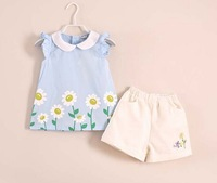Baby Girls Summer Clothing Sets Baby Girl's Brand Clothing Sets Children's suit sets Kid Apparel set blouse+Shorts freeshipping